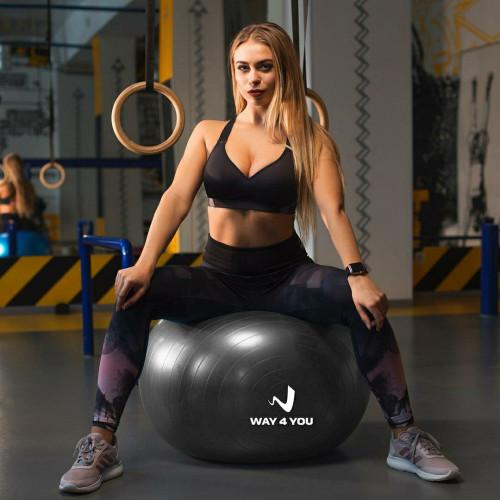 Мяч для Фитнеса (Фитбол) W4Y 65 см черный - Фото 4