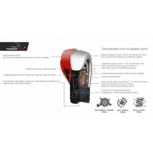 Перчатки для бокса PowerPlay Pro Fight Red - Фото 4