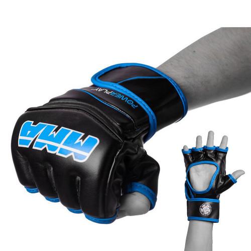 Перчатки для ММА PowerPlay Black-Blue - Фото