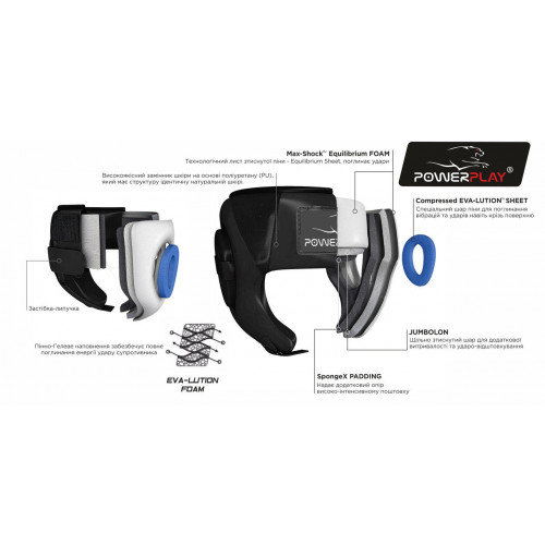 Шлем боксерский тренировочный PowerPlay Bamper Black - Фото 6