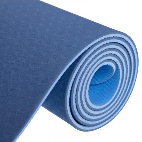 Коврик для фитнеса и йоги TPE+TC (6 мм, двухслойный) - Фото 3