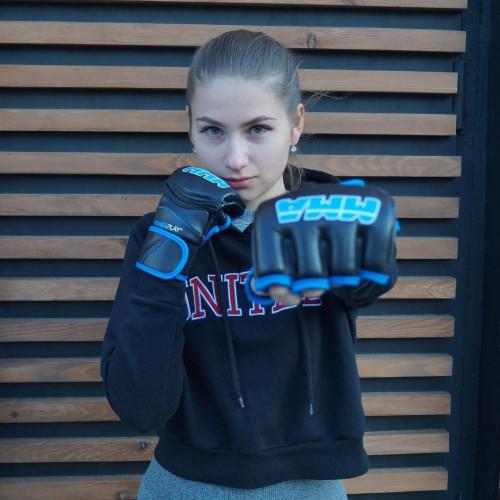 Перчатки для ММА PowerPlay Black-Blue - Фото 5