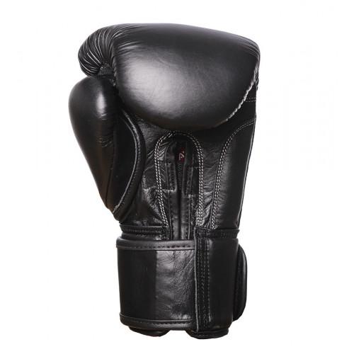 Перчатки боксерские PowerPlay Classic Black (Натур. кожа) - Фото 4